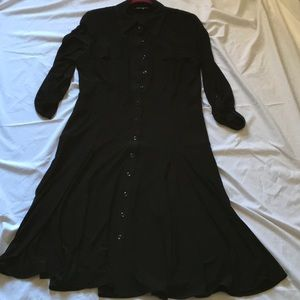 Jones New York classic shirt dress, black jersey